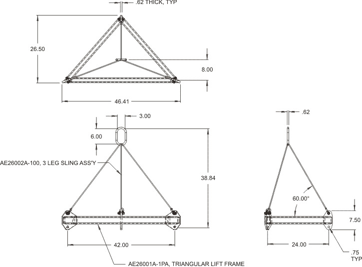 Triangular Lift Frame Drawing
