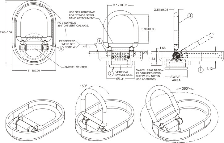 Tie Down Ring Drawing